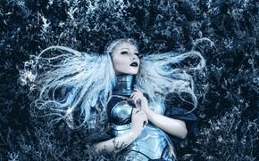 Picture grass, look, girl, style, hair, fantasy, lies, image, knight, warrior, photoart, Kindra Nikole