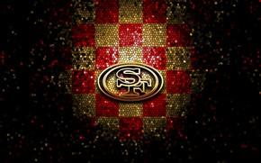 Picture wallpaper, sport, logo, NFL, glitter, checkered, San Francisco 49ers