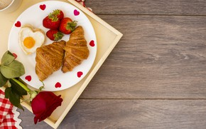 Picture Breakfast, strawberry, romantic, breakfast, Croissants