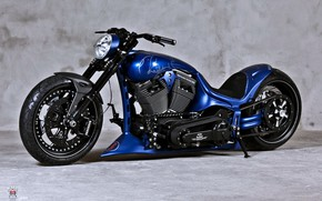 Picture Harley Davidson, Custom, Motorbike, Blue chopper