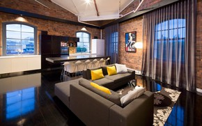 Picture style, interior, kitchen, living room, loft, Woolstore Apartment