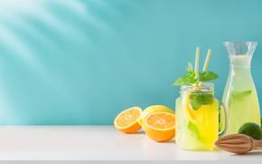 Picture lemon, oranges, drink, lemonade
