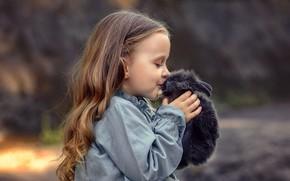 Picture animal, kiss, rabbit, dress, girl, child, pet, Victoria Dubrovskaya