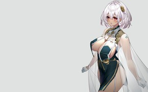Picture girl, sexy, cleavage, dress, boobs, anime, beautiful, short hair, pretty, erotic, breasts, attractive, handsome, silver …