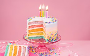 Picture lights, background, pink, birthday, holiday, the sweetness, candles, candy, cake, vase, ribbon