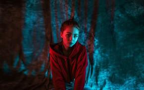 Picture look, light, dark, Girl, sitting, Daria Klepikova