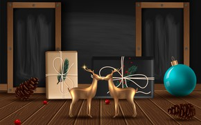 Picture photo, Balls, New year, Deer, Bumps, Gifts, Vector graphics
