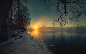 Picture winter, lake, the evening