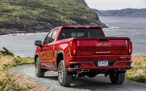 Picture red, rear view, pickup, GMC, Sierra, AT4, 2019