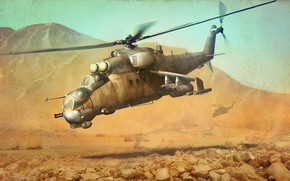 Picture mountains, figure, pair, helicopter, Crocodile, Hind, shock, Mil, Mi-24P