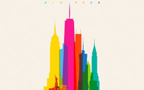 Picture colorful, USA, minimalism, New York, Empire State Building, digital art, artwork, Statue of Liberty, skyscrapers, …