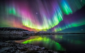 Picture colors, night, Northern Lights