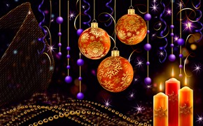 Picture balls, light, the dark background, rendering, candles, New Year, sparks, Christmas, beads, garland, picture, Christmas …
