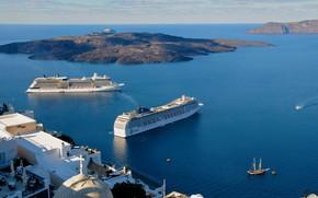 Picture sea, travel, ship, Santorini, Greece, liner, cruise