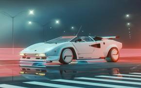 Picture Music, Lamborghini, Style, Car, Art, 80s, Style, Night, Neon, Countach, Illustration, Supercar, Lamborghini Countach, Sportcar, …