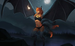 Picture girl, night, wings, being, tails