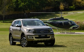 Picture field, grass, Ford, helicopter, Everest, Limited, 4WD, 2019