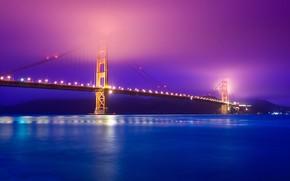 Picture night, bridge, fog, Strait, lights, Golden Gate, Golden Gate Bridge, San Francisco, San Francisco, they