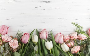 Picture flowers, roses, tulips, pink, wood, pink, flowers, beautiful, tulips, roses