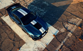 Picture blue, Mustang, Ford, Shelby, GT500, top, 2019