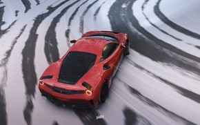 Picture winter, Microsoft, Ferrari, drift, drift, game, 488, Pista, Forza Horizon 4, by Wallpy