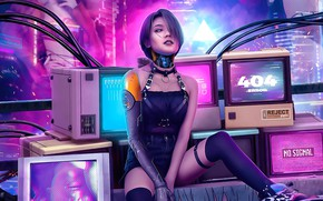 Picture sexy, future, the game, robot, technology, sparks, sexy, robot, monitors, error 404, cyberpunk 2077, neon …