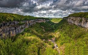 Picture Clouds, Sky, Landscape, France, Rocks, Franche-Comte, Baume les Messieurs