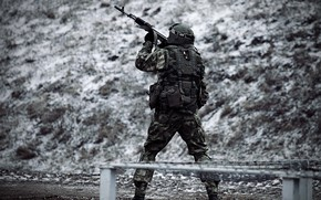 Picture snow, military, special forces, Russia, Kalashnikov, aiming