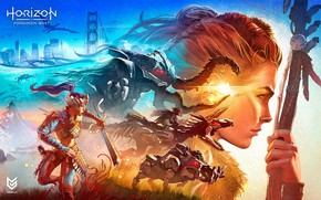 Picture girl, face, collage, robots, Aloy, Horizon Forbidden West