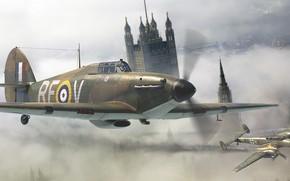 Picture Hawker Hurricane, Battle of Britain, Battle of Britain, British single-seat fighter, Messerschmitt Bf.110, twin-engine heavy …