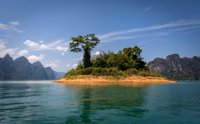Picture the sky, the sun, lake, rocks, Thailand, island, the bushes, Cheow Lan Lake, Khao Sok …