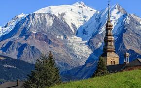 Picture mountains, France, Church, Auvergne Rhône Alpes