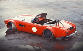 Picture Red, Auto, Machine, Red, Render, Rendering, BMW 507, Transport & Vehicles, by Sugar Chow, Sugar …