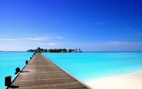 Picture bridge, palm trees, the ocean, island, resort, Maldives, Dhigurah Island