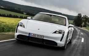 Picture road, movement, Porsche, front, Turbo S, 2020, Taycan