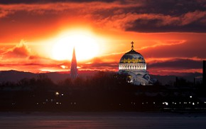 Picture sunset, the city, Peter, Saint Petersburg, the dome, Naval Cathedral, Руслан Кондратенко