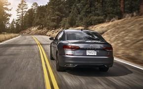 Picture Volkswagen, sedan, rear view, Passat, 2020, 2019, dark gray, US Version