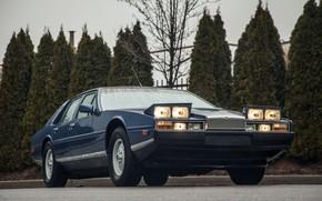 Picture Blue, Sedan, Classic, After the rain, Aston Martin Lagonda