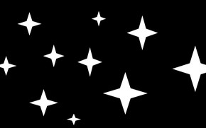 Picture stars, white, black background