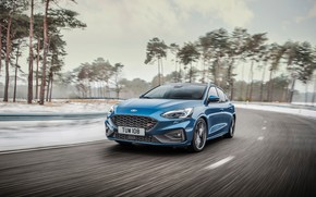 Picture machine, asphalt, trees, movement, lights, speed, Ford, Focus ST