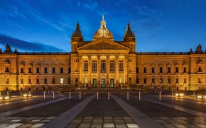 Picture the sky, lights, the building, the evening, Germany, area, lights, Palace, Leipzig, BVG, Berliner Verkehrsbetriebe