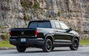 Picture rock, lawn, black, Honda, rear view, bumper, pickup, Black Edition, Ridgeline, 2019
