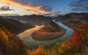 Picture autumn, clouds, landscape, sunset, mountains, nature, river, Bulgaria, Materov.