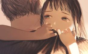 Picture girl, hugs, guy
