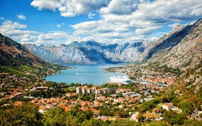 Picture sea, mountains, home, panorama, liner, Montenegro, To