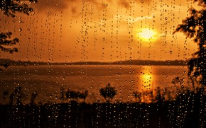 Picture glass, drops, rain, sunset