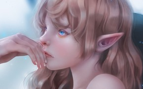 Picture face, hand, elf, blue eyes, pointy, elf girl, by Fenrigi Steve
