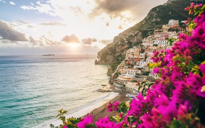 Picture flowers, the city, coast, Italy, houses, sea, Italy, coast, pink, flowers, town