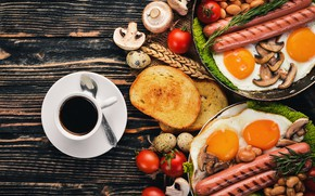 Picture mushrooms, sausage, coffee, eggs, bread, tomatoes