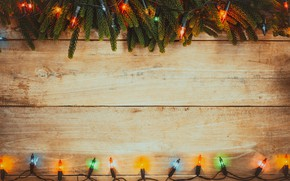 Picture decoration, colorful, New Year, Christmas, garland, Christmas, wood, New Year, decoration, Merry